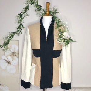 St. John Collection | Ivory Beige Zip Up Blazer